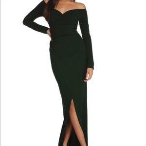 Windsor Hunter green wrap evening dress